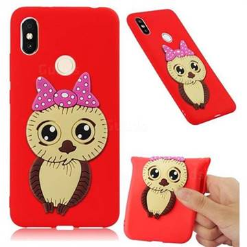 Bowknot Girl Owl Soft 3D Silicone Case for Mi Xiaomi Redmi S2 (Redmi Y2) - Red
