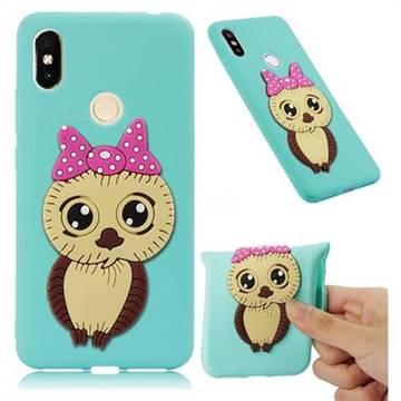 Bowknot Girl Owl Soft 3D Silicone Case for Mi Xiaomi Redmi S2 (Redmi Y2) - Sky Blue