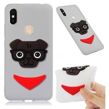 Glasses Dog Soft 3D Silicone Case for Mi Xiaomi Redmi S2 (Redmi Y2) - Translucent White