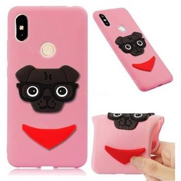 Glasses Dog Soft 3D Silicone Case for Mi Xiaomi Redmi S2 (Redmi Y2) - Pink