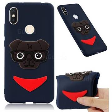 Glasses Dog Soft 3D Silicone Case for Mi Xiaomi Redmi S2 (Redmi Y2) - Navy