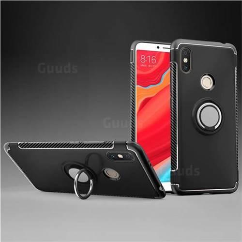 Armor Anti Drop Carbon PC + Silicon Invisible Ring Holder Phone Case for Mi Xiaomi Redmi S2 (Redmi Y2) - Black