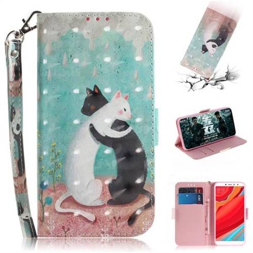 Black and White Cat 3D Painted Leather Wallet Phone Case for Mi Xiaomi Redmi S2 (Redmi Y2)