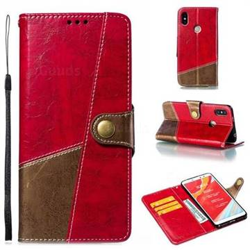 Retro Magnetic Stitching Wallet Flip Cover for Mi Xiaomi Redmi S2 (Redmi Y2) - Rose Red