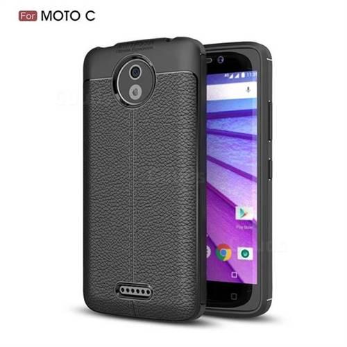 Luxury Auto Focus Litchi Texture Silicone TPU Back Cover for Motorola Moto C - Black