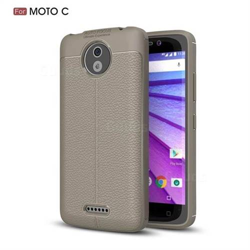 Luxury Auto Focus Litchi Texture Silicone TPU Back Cover for Motorola Moto C - Gray