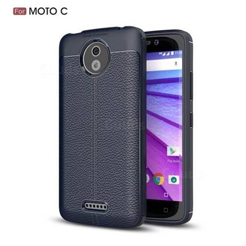 Luxury Auto Focus Litchi Texture Silicone TPU Back Cover for Motorola Moto C - Dark Blue