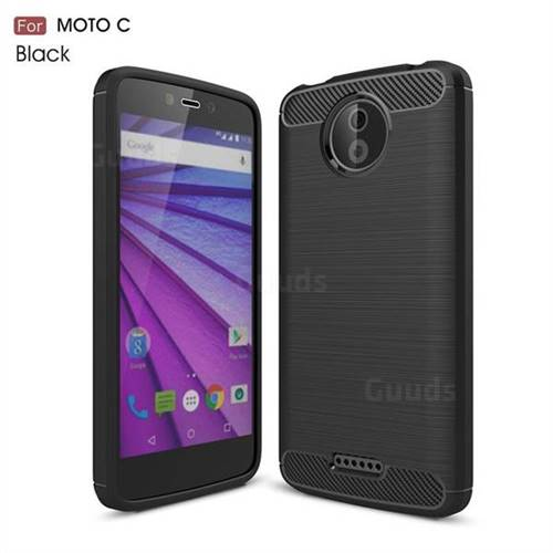 Luxury Carbon Fiber Brushed Wire Drawing Silicone TPU Back Cover for Motorola Moto C - Black