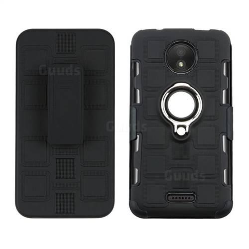 3 in 1 PC + Silicone Leather Phone Case for Motorola Moto C - Black
