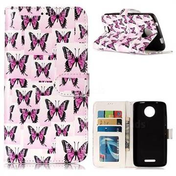 Butterflies Stickers 3D Relief Oil PU Leather Wallet Case for Motorola Moto C