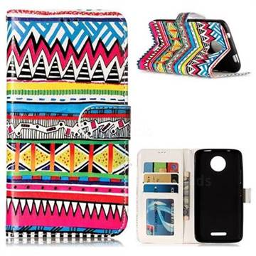 Tribal Pattern 3D Relief Oil PU Leather Wallet Case for Motorola Moto C