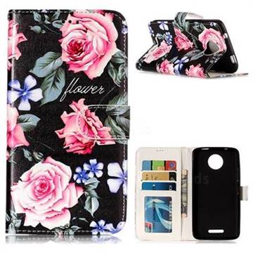 Peony 3D Relief Oil PU Leather Wallet Case for Motorola Moto C