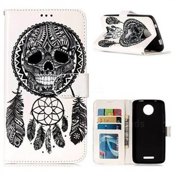Wind Chimes Skull 3D Relief Oil PU Leather Wallet Case for Motorola Moto C