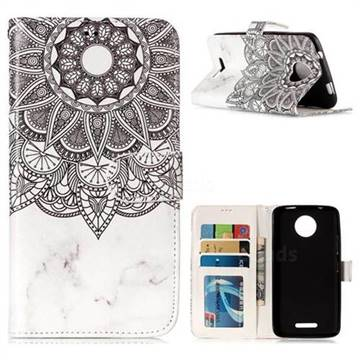 Marble Mandala 3D Relief Oil PU Leather Wallet Case for Motorola Moto C