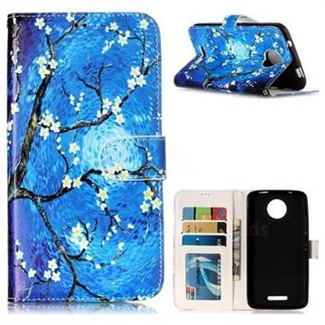 Plum Blossom 3D Relief Oil PU Leather Wallet Case for Motorola Moto C