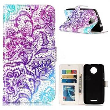 Purple Lotus 3D Relief Oil PU Leather Wallet Case for Motorola Moto C