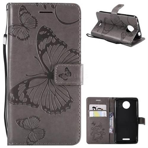 Embossing 3D Butterfly Leather Wallet Case for Motorola Moto C - Gray