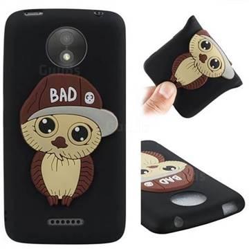 Bad Boy Owl Soft 3D Silicone Case for Motorola Moto C Plus - Black