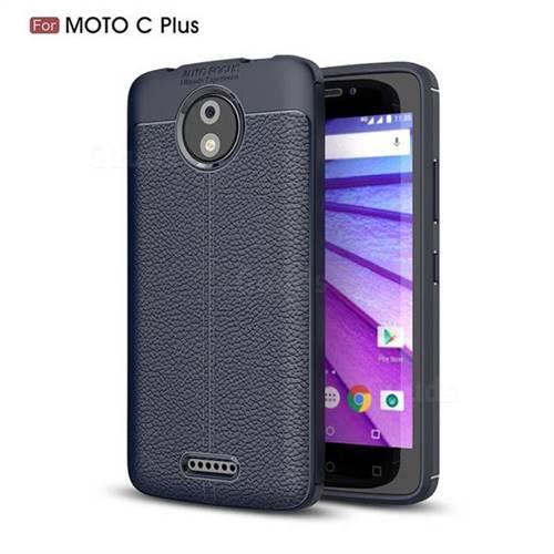 Luxury Auto Focus Litchi Texture Silicone TPU Back Cover for Motorola Moto C Plus - Dark Blue