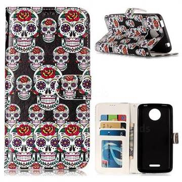 Flower Skull 3D Relief Oil PU Leather Wallet Case for Motorola Moto C Plus