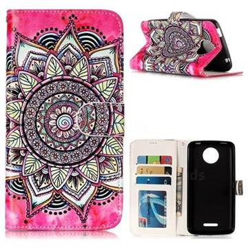Rose Mandala 3D Relief Oil PU Leather Wallet Case for Motorola Moto C Plus