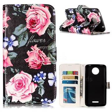 Peony 3D Relief Oil PU Leather Wallet Case for Motorola Moto C Plus