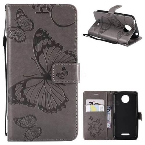 Embossing 3D Butterfly Leather Wallet Case for Motorola Moto C Plus - Gray
