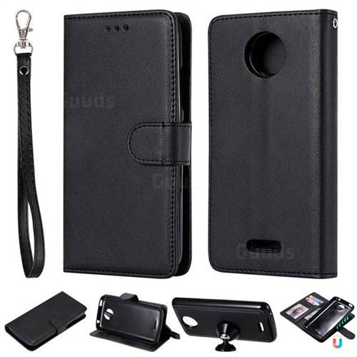 Retro Greek Detachable Magnetic PU Leather Wallet Phone Case for Motorola Moto C Plus - Black