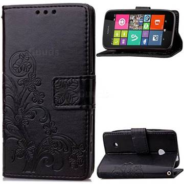 Embossing Imprint Four-Leaf Clover Leather Wallet Case for Nokia Lumia 530 - Black