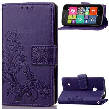Embossing Imprint Four-Leaf Clover Leather Wallet Case for Nokia Lumia 530 - Purple