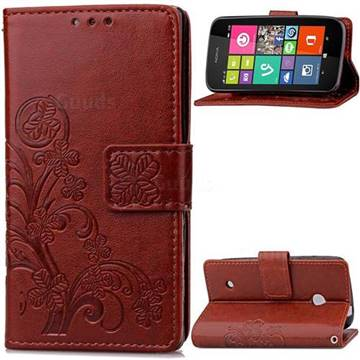 Embossing Imprint Four-Leaf Clover Leather Wallet Case for Nokia Lumia 530 - Brown