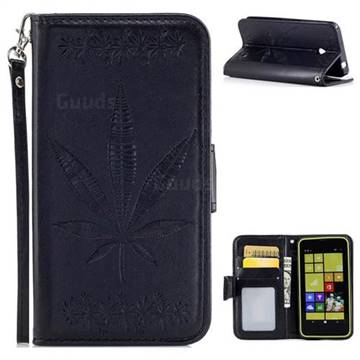 Intricate Embossing Maple Leather Wallet Case for Nokia Lumia 630 N630 - Black