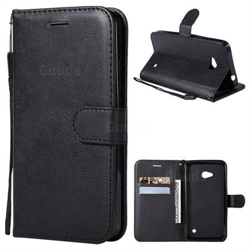 Retro Greek Classic Smooth PU Leather Wallet Phone Case for Nokia Lumia 640 N640 - Black
