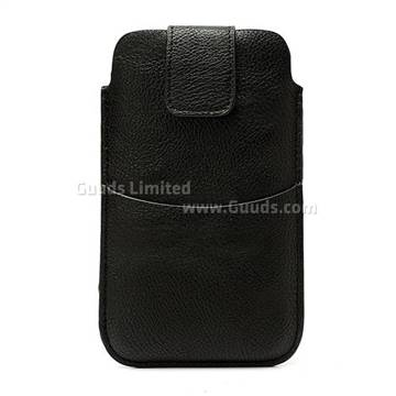 Leather Pouch Case for Samsung Galaxy Note 2 / Note II N7100 with Belt Clip and Card Slot - Black