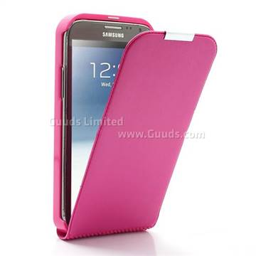 low priced 6f77f cef69 Brushed Leather Flip Cover for Samsung Galaxy Note 2 / Note II N7100 - Rose
