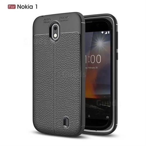 Luxury Auto Focus Litchi Texture Silicone TPU Back Cover for Nokia 1 - Black