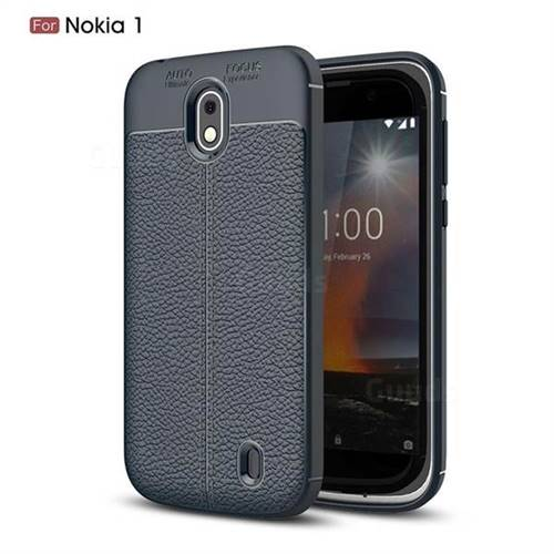 Luxury Auto Focus Litchi Texture Silicone TPU Back Cover for Nokia 1 - Dark Blue