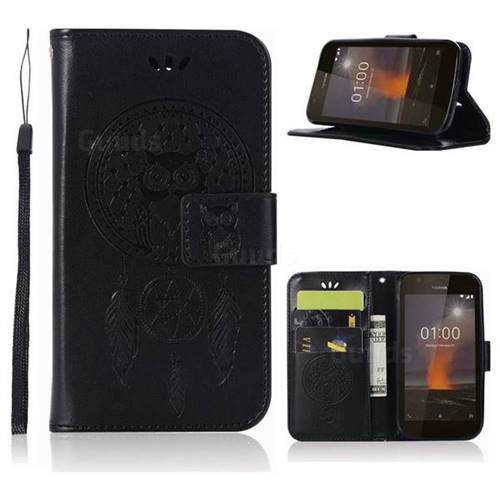 Intricate Embossing Owl Campanula Leather Wallet Case for Nokia 1 - Black