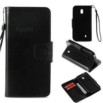 Retro Phantom Smooth PU Leather Wallet Holster Case for Nokia 1 - Black