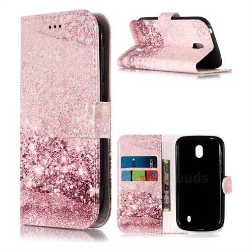 Glittering Rose Gold PU Leather Wallet Case for Nokia 1