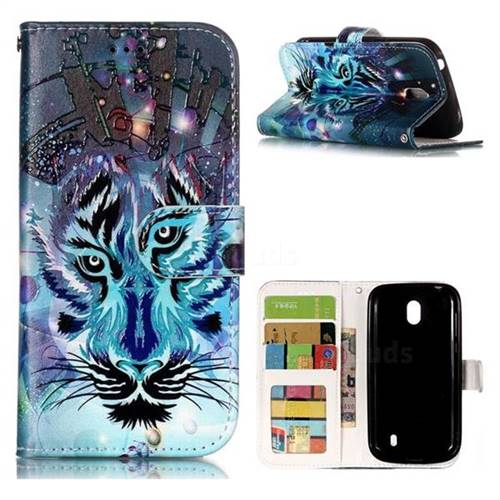 Ice Wolf 3D Relief Oil PU Leather Wallet Case for Nokia 1