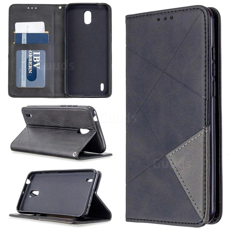 Prismatic Slim Magnetic Sucking Stitching Wallet Flip Cover for Nokia 1.3 - Black