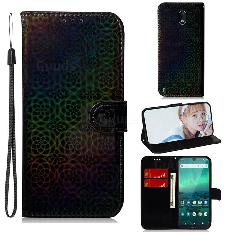 Laser Circle Shining Leather Wallet Phone Case for Nokia 1.3 - Black