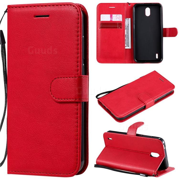 Retro Greek Classic Smooth PU Leather Wallet Phone Case for Nokia 1.3 - Red