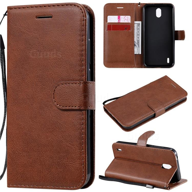 Retro Greek Classic Smooth PU Leather Wallet Phone Case for Nokia 1.3 - Brown