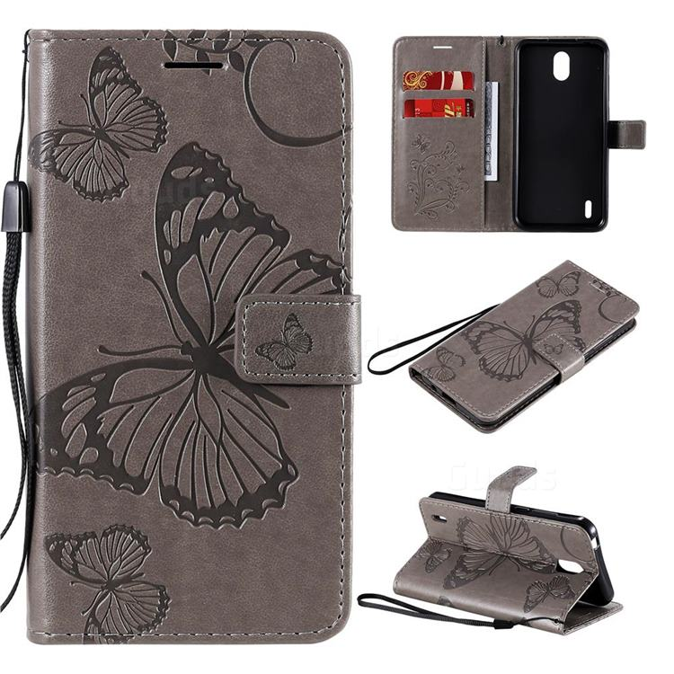 Embossing 3D Butterfly Leather Wallet Case for Nokia 1.3 - Gray