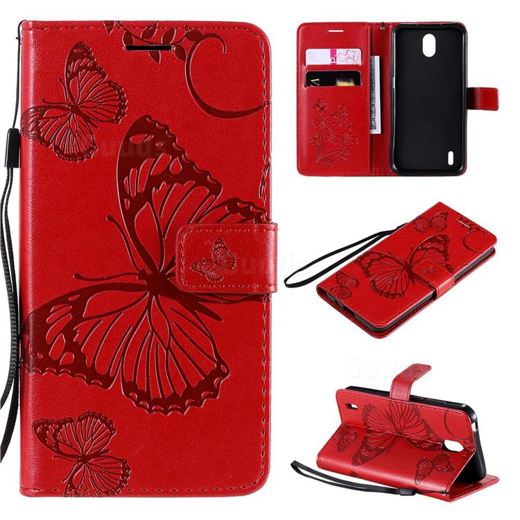 Embossing 3D Butterfly Leather Wallet Case for Nokia 1.3 - Red
