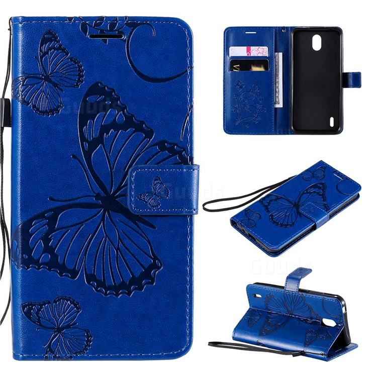 Embossing 3D Butterfly Leather Wallet Case for Nokia 1.3 - Blue