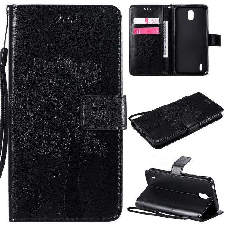 Embossing Butterfly Tree Leather Wallet Case for Nokia 1.3 - Black