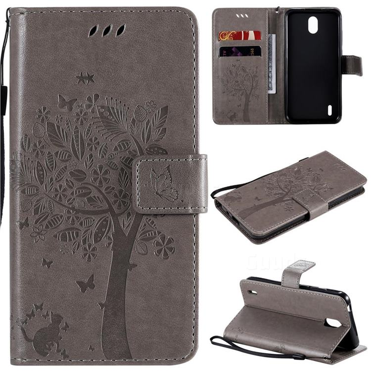 Embossing Butterfly Tree Leather Wallet Case for Nokia 1.3 - Grey